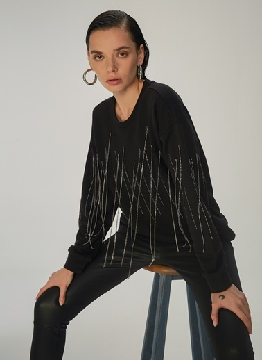 NGSTYLE Taş Zincirli sweatshirt Siyah